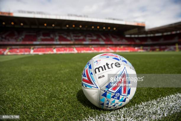 The EFL Mitre match ball on the pitch before the Sky Bet Championship match between Nottingham Forest and Middlesbrough at City Ground on August 19...