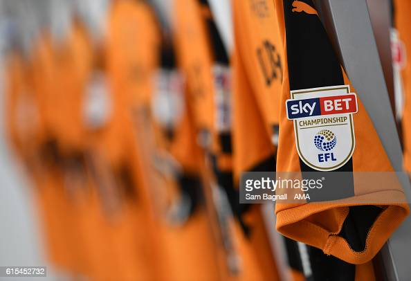 The EFL Sky Bet Championship logo on the sleeve on a Wolverhampton Wanderers shirt in the away dressing room before kick off prior to the Sky Bet...