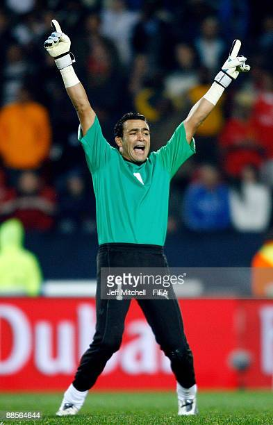 The Egypt goalkeeper Essam El Hadary celebrates after their victory over Italy in the FIFA Confederations Cup Group A match between Egypt and Italy...