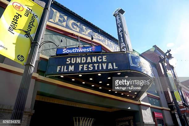 The Egyptian Theatre on Main Street in Park City Utah advertising the 2015 Sundance Film Festival