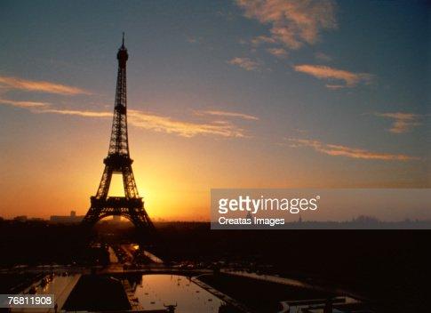 The Eiffel Tower at sunset, Paris, France : Foto de stock