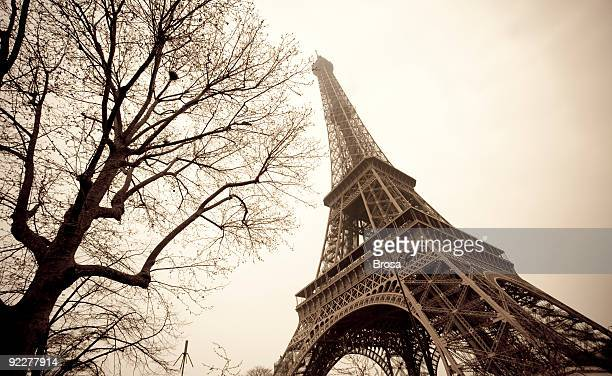 The Eiffel Tower in France shot from below