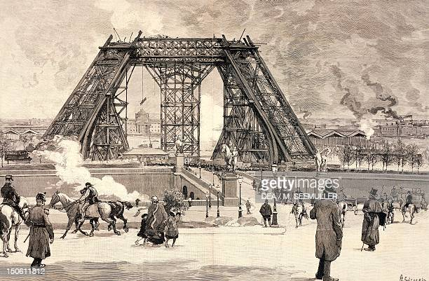 The Eiffel Tower under construction for the Paris World Fair the progress of the work in February 1888 France 19th century