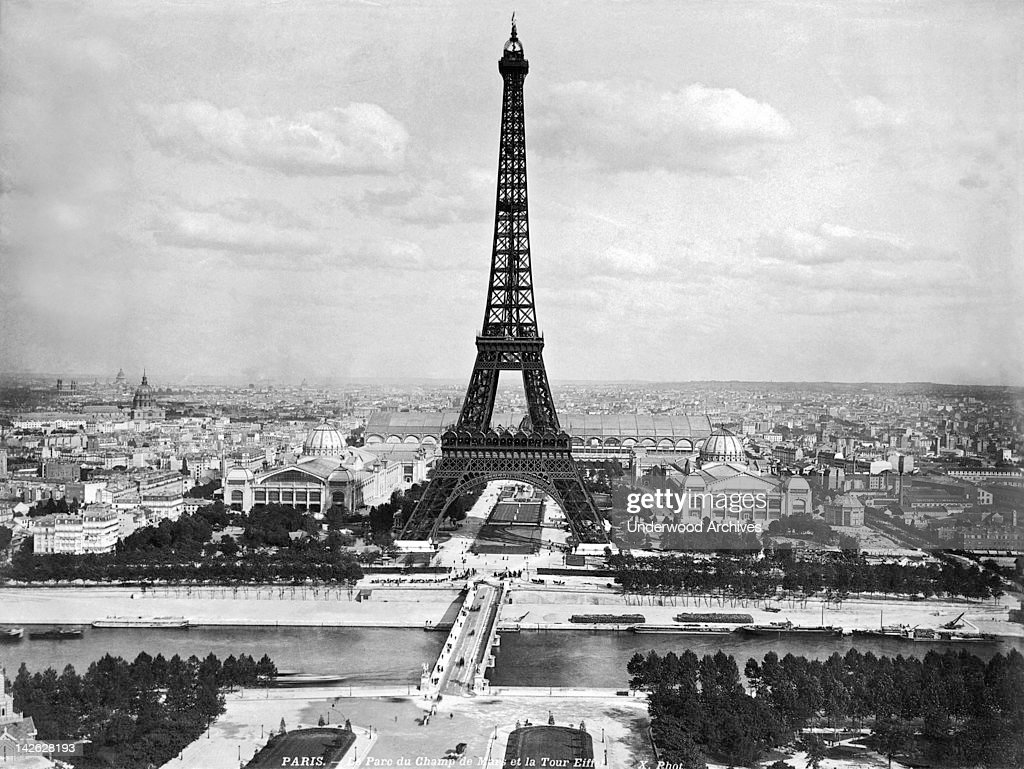 The Eiffel Tower was built by Gustave Eiffel for the International Exhibition of Paris in 1889 to celebrate the 100th anniversary of the start of the French Revolution, Paris, France, late 1880s.