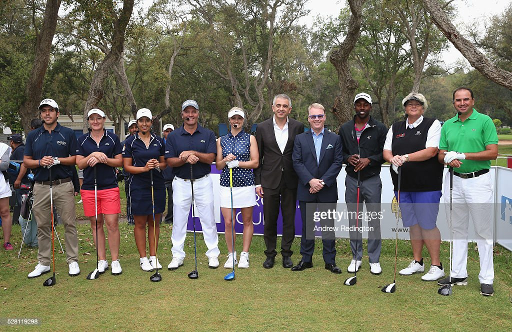 The eight competitors and <a gi-track='captionPersonalityLinkClicked' href=/galleries/search?phrase=Keith+Pelley&family=editorial&specificpeople=8533833 ng-click='$event.stopPropagation()'>Keith Pelley</a>, Chief Executive of The European Tour, and Ivan Khodabakhsh, Chief Executive Officer of the Ladies European Tour, (centre) pose on the first tee for a mixed exhibition match prior to the start of the Trophee Hassan II at Royal Golf Dar Es Salam on May 4, 2016 in Rabat, Morocco.