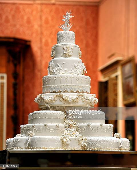 The eight tiered Royal Wedding cake that the team at Fiona Cairns Ltd of Leicestershire made for Prince William and Catherine Middleton is seen in...