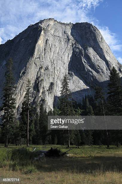 The El Capitan rock formation stands on July 21 2014 in Yosemite National Park California Yosemite is among California's biggest tourist destinaitons