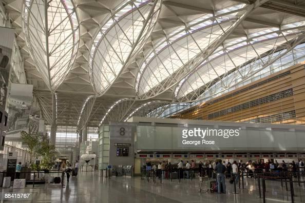 The elaborate skylights at San Francisco Airport's International terminal are seen in this 2009 San Francisco California interior photo