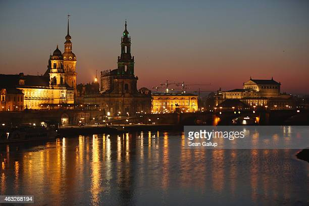 The Elbe River flows past the illuminated historic city center much of which was obliterated by the February 13 1945 Allied bombing raids on February...