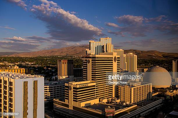 The Eldorado and Silver Legacy Hotels Casinos are shown at sunrise on September 13 in Reno Nevada Reno located in the northwest corner of Nevada...