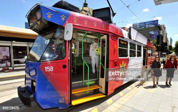 The electric tram in a special Red white and Blue colour scheme that Queen Elizabeth II and the Duke of Edinburgh rode on for a short journey through...