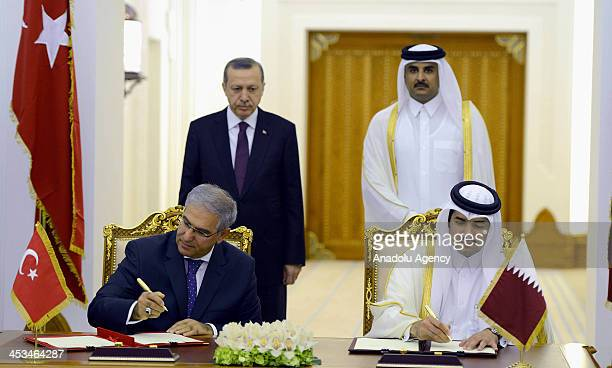 The Electricity Generation Company and Qatar Holding representatives sign an agreement contract on energy field under Turkish Prime Minister Recep...
