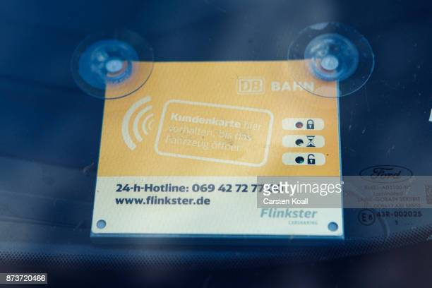 The electronic cardreader is mounted for the opening of cars of the car sharing sharing agency Flinkster are parked at the pickup and return station...