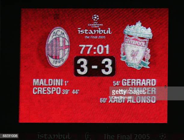 The electronic scoreboard indicates Liverpool's amazing comeback during the European Champions League final between Liverpool and AC Milan on May 25...