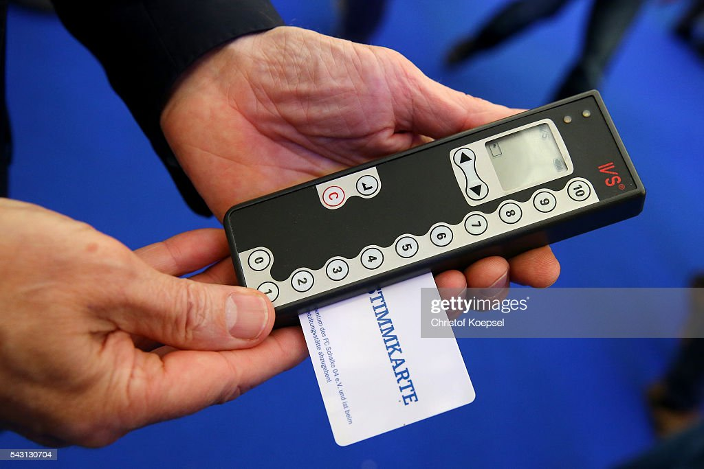 The electronic voting procedure during the FC Schalke 04 general assembly at Veltins Arena on June 26, 2016 in Gelsenkirchen, Germany.