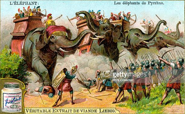 The Elephants of Pyrrhus c1900 Scene from a battle between Pyrrhus and the Romans The term Pyrrhic victory originates from one of his battles French...