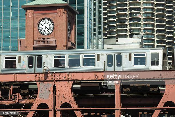 The Elevated Train in downtown Chicago