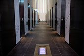 The elevator bank of One World Trade Center which opens for business today is seen on November 3 2014 in New York City The skyscraper is 104 stories...
