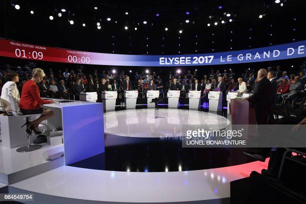 The eleven candidates for the French presidential election attend a debate presented by French TV hosts Ruth Elkrief and Laurence Ferrari and...