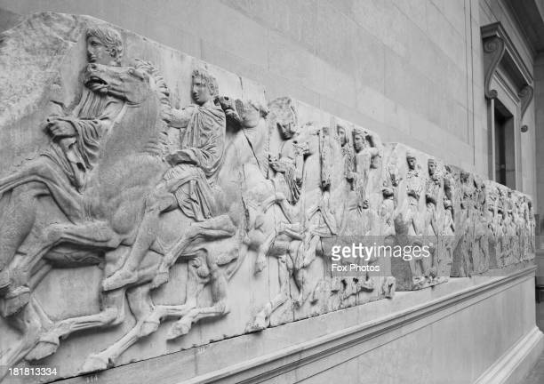 The Elgin Marbles classical Greek sculptures also known as the Parthenon Marbles on display in the Duveen Gallery at the British Museum London 28th...