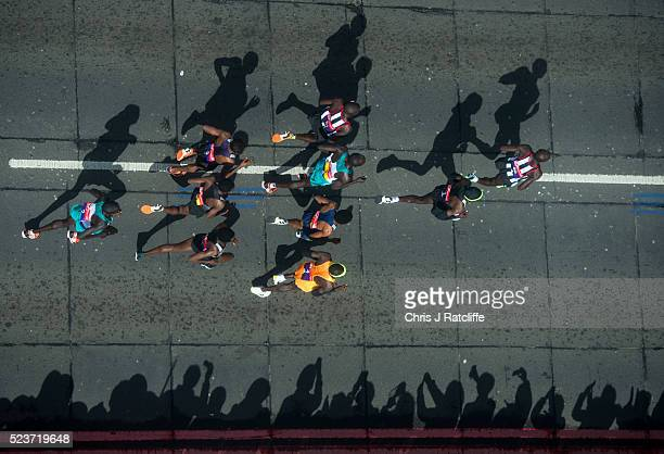 The elite men run over Tower Bridge during the Virgin London Marathon 2016 on April 24 2016 in London England