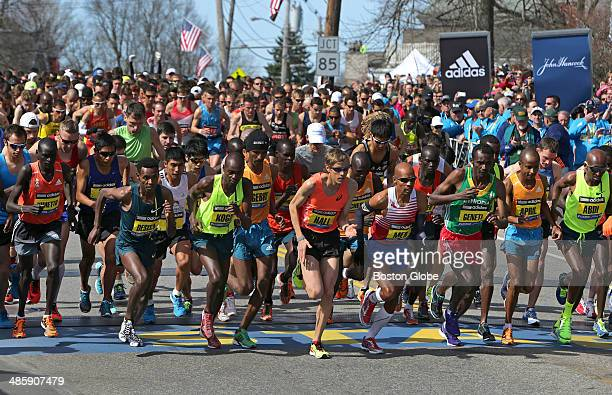 The elite men start the race in Hopkinton a the beginning of the 118th Boston Marathon on Monday April 21 2014