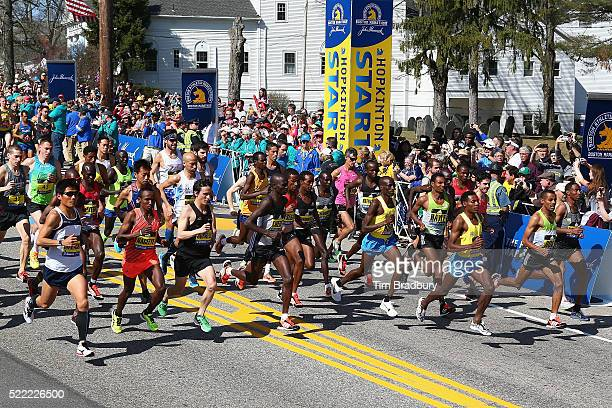 The Elite Men's division starts the 120th Boston Marathon on April 18 2016 in Hopkinton Massachusetts