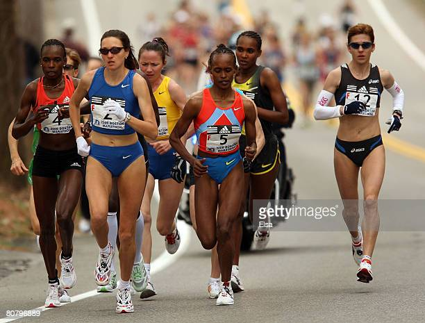 The elite women head out at the start of the 2008 Boston Marathon on April 21 2008 in Hopkinton Massachusetts