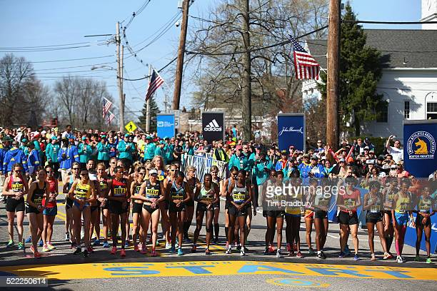 The Elite Women's division prepares to start the 120th Boston Marathon on April 18 2016 in Hopkinton Massachusetts