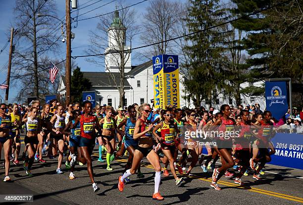 The Elite Women's division starts the 118th Boston Marathon on April 21 2014 in Hopkinton Massachusetts