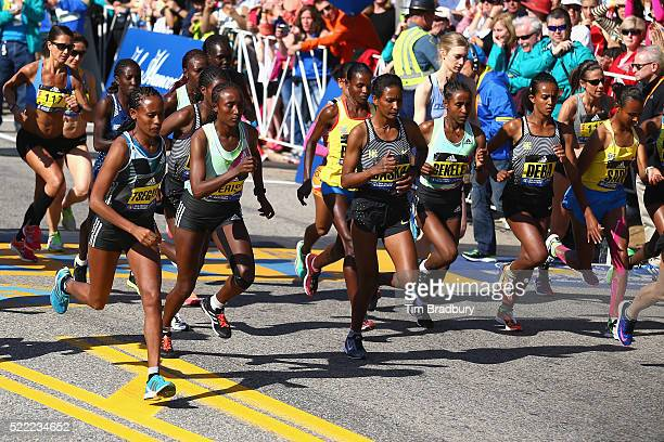 The Elite Women's division starts the 120th Boston Marathon on April 18 2016 in Hopkinton Massachusetts