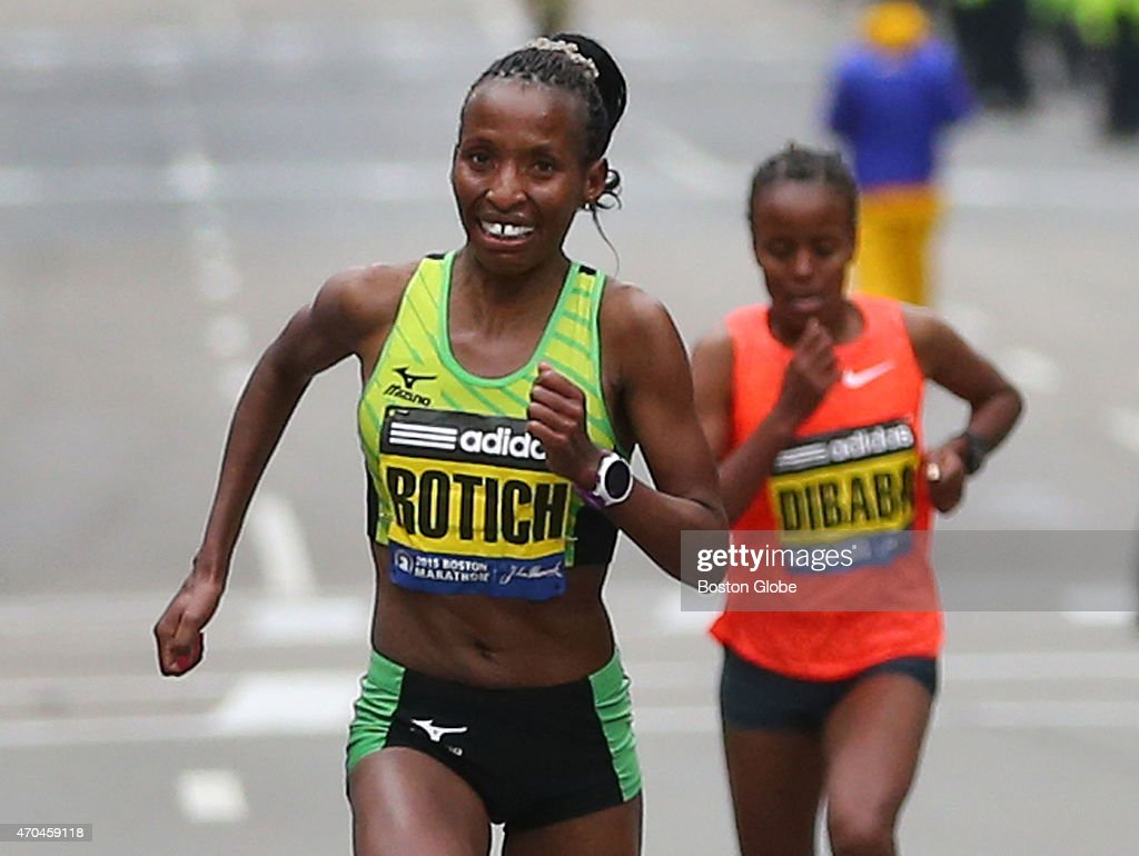 The Elite Womens division winner <a gi-track='captionPersonalityLinkClicked' href=/galleries/search?phrase=Caroline+Rotich&family=editorial&specificpeople=14407354 ng-click='$event.stopPropagation()'>Caroline Rotich</a>, left, pulls ahead of <a gi-track='captionPersonalityLinkClicked' href=/galleries/search?phrase=Mare+Dibaba&family=editorial&specificpeople=9614285 ng-click='$event.stopPropagation()'>Mare Dibaba</a>, right, just before the finish line in Boston on April 20, 2015.