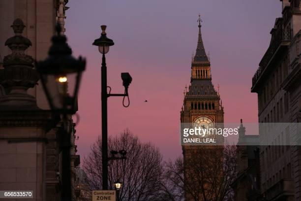 TOPSHOT The Elizabeth Tower at the Houses of Parliament are pictured in Westminster central London on March 22 in the aftermath of a terror incident...