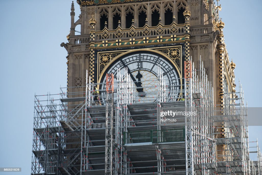 The Elizabeth Tower, commonly known as Big Ben, is pictured covered by scaffolding, London on October 5, 2017. The tower is currently undergoing a four-year renovation plan.