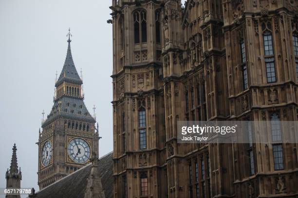 The Elizabeth Tower commonly known as Big Ben is seen behind the Houses of Parliament on March 24 2017 in London England A fourth person has died...