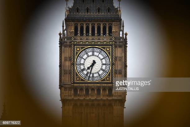 TOPSHOT The Elizabeth tower more commonly known as Big Ben is seen from the other side of the River Thames in central London on March 29 2017 British...