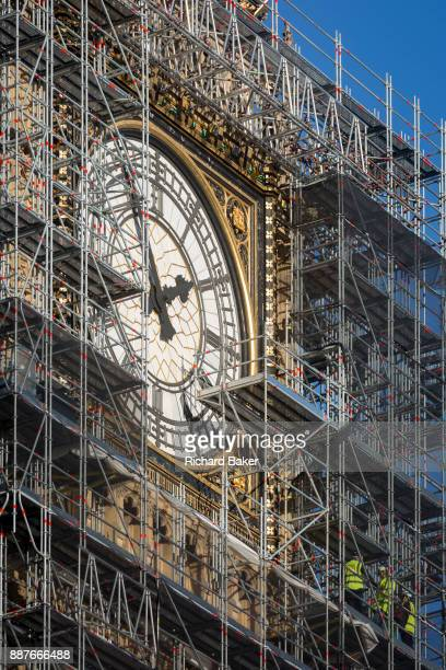 The Elizabeth Tower that holds the now silent Big Ben bell along with the the Houses of Parliament are covered in scaffolding on 1st December 2017 in...
