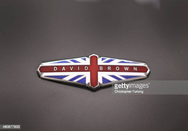 The emblem of David Brown Automotive sits on the bodywork of 'Speedback' the new luxury British sports car made by David Brown Automotive on March 20...