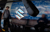 The emblem of Japanese automaker Suzuki Motor is seen on the company's latest compact car in Tokyo on May 18 2016 Suzuki Motor on May 18 admitted it...