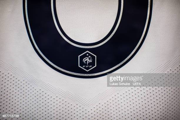 The emblem of the team of France is seen on a jersey prior to the FIFA 2018 World Cup Qualifier between Luxembourg and France at Stade Josy Barthel...