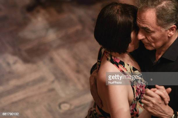 The embrace of two Argentine tango dancers during an afterparty event in Klub Cabaret an event that was a part of Krakus Aires Tango Festival 2017 a...