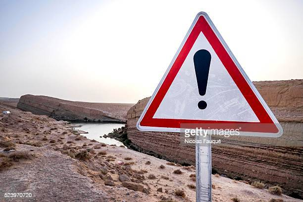 The emergency services as first measure of vigilance installed panels of caution on the lake of 'Gafsa Beach'