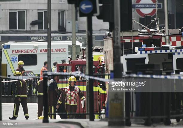 The Emergency Services gathered outside Warren Street Tube on July 21 2005 in London England Three London underground train stations have been...