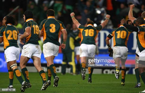 The Emerging Springboks celebrate their draw againt the British and Irish lions