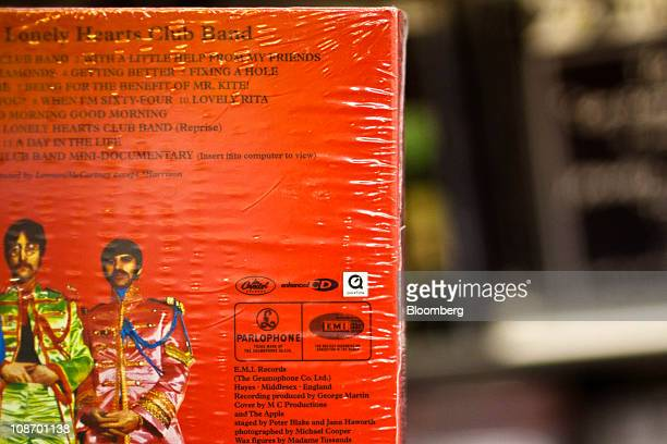 The EMI Group Ltd logo is seen on the back of The Beatles 'Sgt Pepper's Lonely Hearts Club Band' album that is displayed for sale at Bleeker Bob's...