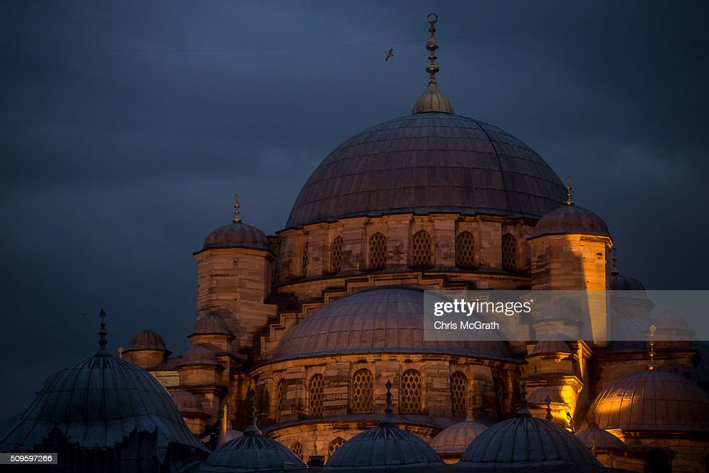 The Eminonu Mosque is seen on February 11, 2016 in Istanbul, Turkey. Istanbul is famous for its skyline dotted with historic mosques, it is home to more than 3000 mosques, the most of any city in Turkey and includes the famous Blue Mosque and Suleymaniye Mosque.