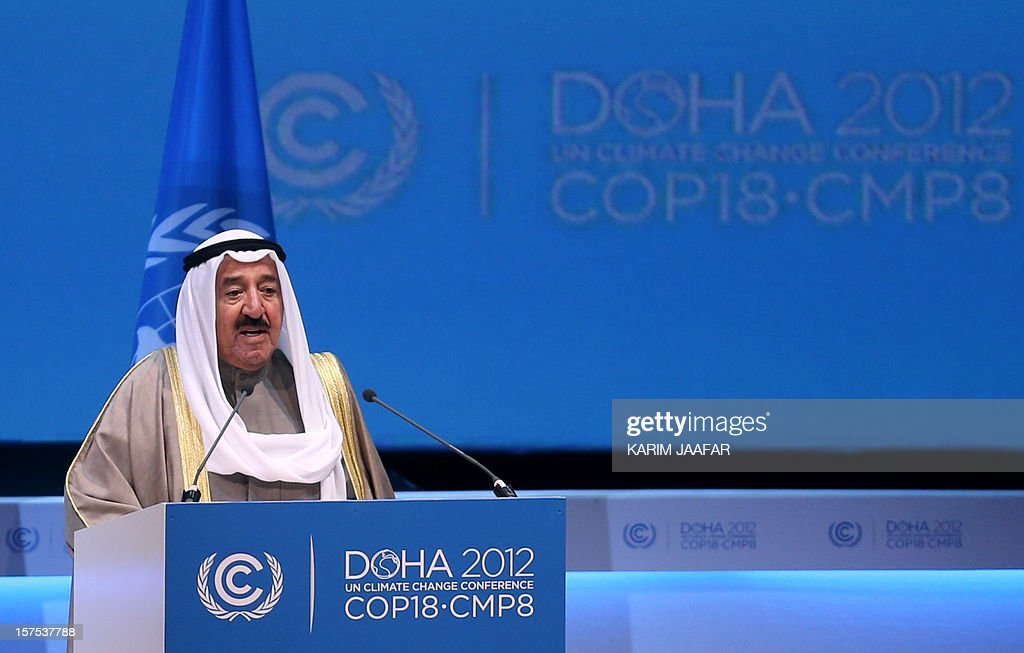 The Emir of Kuwait, Sheikh Sabah al-Ahmad al-Jaber al-Sabah talks during the opening ceremony of Plenary Session of the High-Level Summit of the United Nations Framework Convention on Climate Change (UNFCCC) in the Qatari capital Doha on December 4, 2012. United Nations chief Ban Ki-moon said the world was faced by a global warming 'crisis' and urged bickering negotiators at climate talks in Doha to show 'strong political commitment' and compromise. AFP PHOTO / AL-WATAN DOHA / KARIM JAAFAR == QATAR OUT ==