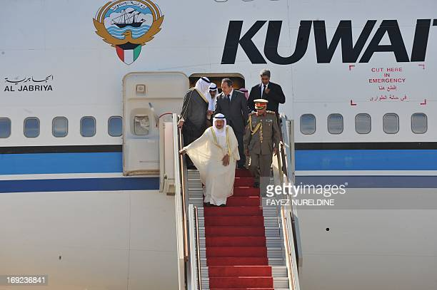 The emir of Kuwait Sheikh Sabah alAhmad alSabah arrives on October 12 2010 at Houari Boumediene International airport in Algiers The emir who flew in...