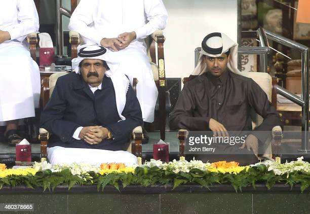 The Emir of Qatar Sheikh Hamad bin Khalifa Al Thani and Nasser AlKhelaifi president of PSG and the Qatar Tennis Federation attend the semifinals of...