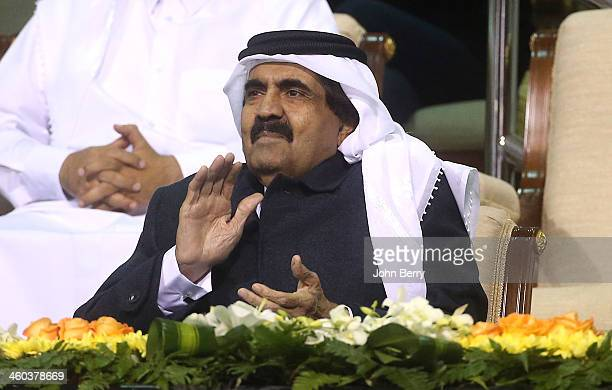 The Emir of Qatar Sheikh Hamad bin Khalifa Al Thani attends the semifinals of the Qatar ExxonMobil Open 2014 held at the Khalifa International Tennis...